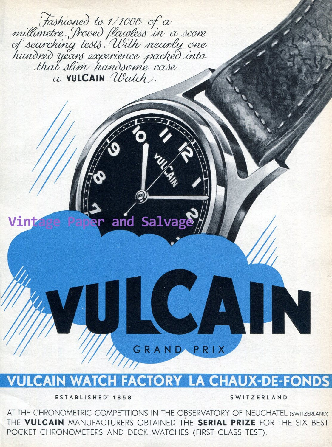 Vulcain Watch Company Switzerland Vintage 1945 Swiss Print Ad Advert Suisse 1940s