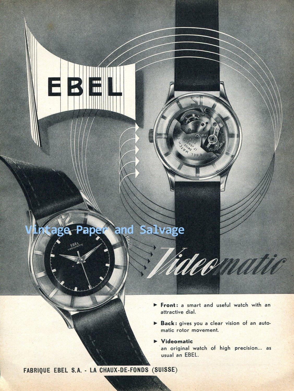 1952 Ebel Videomatic Watch Advert Vintage 1950s Swiss Print Ad Advert Suisse Switzerland