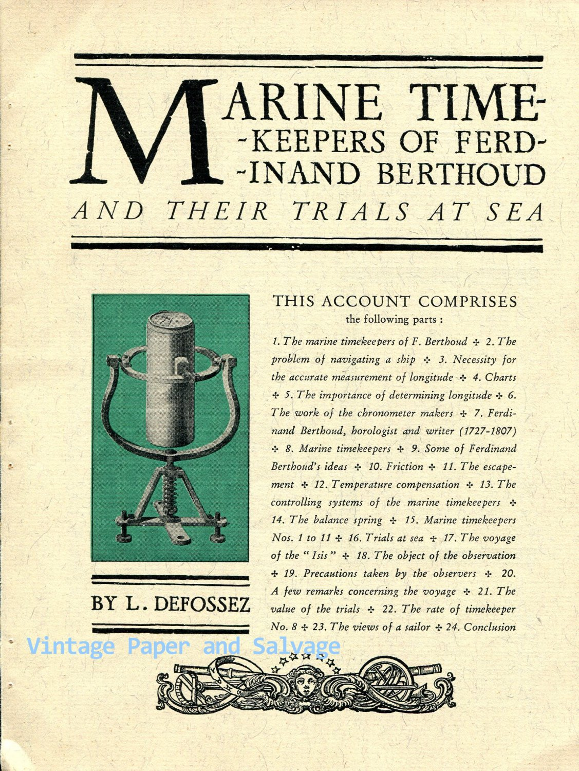 Ferdinand Berthoud Marine Timekeepers and Their Trials at Sea by L Defossez Vintage Horology
