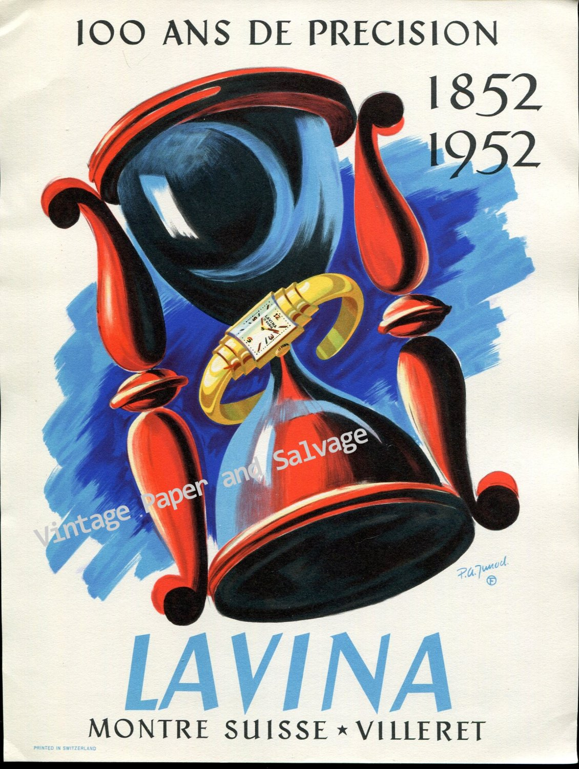 Vintage 1952 Lavina Watch Company Switzerland 100 Year Anniversary Swiss Print Ad AdvertSuisse