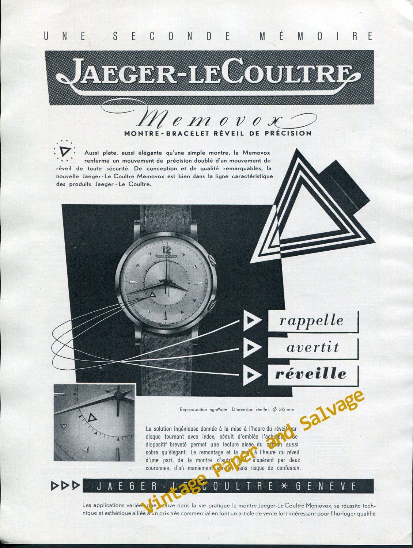 Vintage 1952 Jaeger-LeCoultre Memovox Wrist Watch Advert 1950s Swiss Print Ad Switzerland