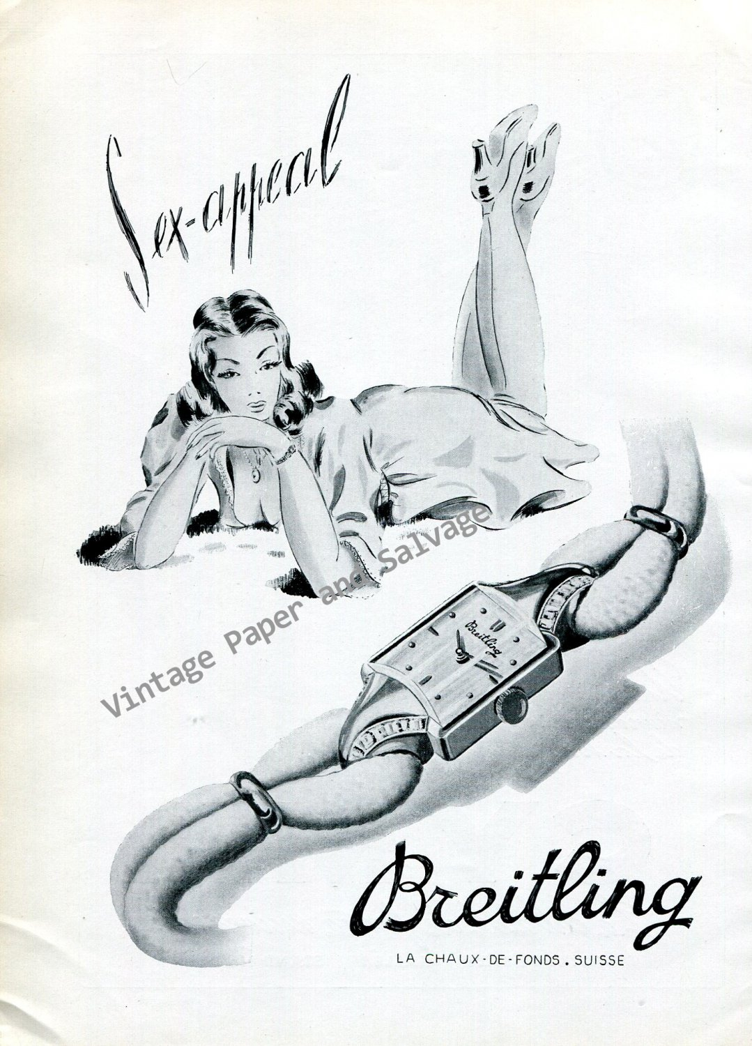 Vintage 1946 Breitling Watch Company Sex Appeal Original 1940s Swiss Print Ad Publicite Suisse