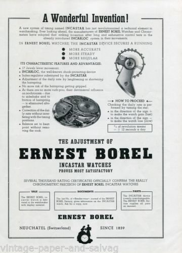 1948 Ernest Borel Watch Company Incastar Watches Advert Swiss Print Ad Publicite Suisse