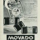 1949 Movado Ermeto Calendermeto Clock Advert Vintage Swiss Print Ad Publicite Suisse