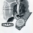 Vintage 1951 Lemania Watch Co Alfred Lugrin SA Swizerland Swiss Print Ad Advert Suisse