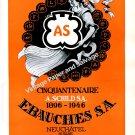 Ebauches S.A. A. Schild 50 Year Anniversary Vintage 1946 Swiss Ad Advert Suisse Switzerland 1940s