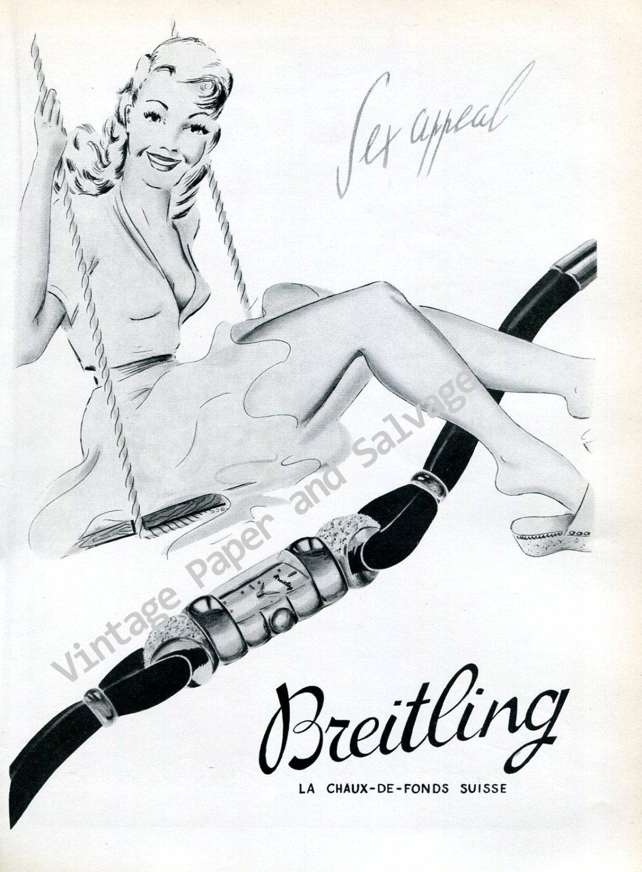 Breitling Sex Appeal Vintage 1946 Swiss Ad Advert Suisse 1940s Switzerland Breitling Watch Co