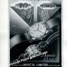 Invicta Watch Company La Chaux-de-Fonds Switzerland Vintage 1946 Swiss Ad Advert Suisse