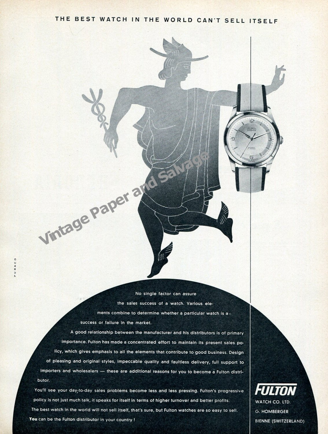 Fulton Watch Co The Best Watch in the World Can't Sell Itself 1957 Swiss Advert