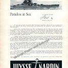 Ulysse Nardin Marine Chronometer Watch Advert Paradox at Sea 1957 Swiss Print Ad Advert Suisse