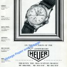 Vintage 1950 Heuer Watch Company Switzerland 90th Anniversary Swiss Ad Advert Suisse