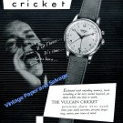 1951 Vulcain Cricket Alarm Wrist Watch Advert Vintage Swiss Ad Switzerland 1950s