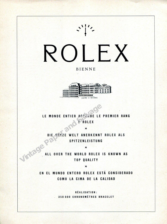 Vintage 1959 Rolex Watch Company 350,000 Chronometers Swiss Ad Advert Suisse Switzerland