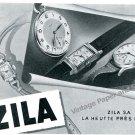 Vintage 1943 Zila Watch Company Switzerland 1940s Swiss Print Ad Advert Suisse