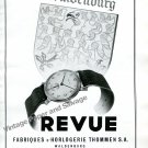 Vintage 1943 Revue Watch Company Thommen SA Switzerland 1940s Swiss Ad Advert Suisse