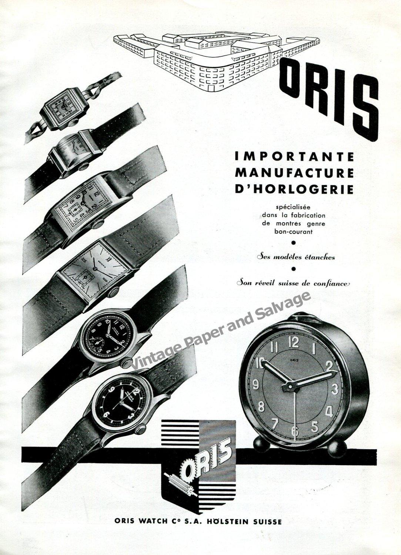 Vintage 1943 Oris Watch Co S.A. Holstein Switzerland 1940s Swiss Ad Advert Suisse