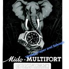Vintage 1943 Mido Multifort Watch Advert Elephant 1940s Swiss Ad Suisse Switzerland