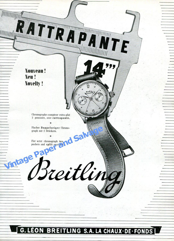 Vintage 1943 Breitling Duograph Split Second Chronograph Watch Advert Swiss Print Ad Suisse