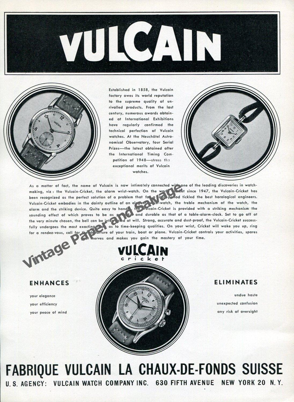 Vintage 1950 Vulcain Watch Factory Switzerland Vulcain Cricket Advert Swiss Ad Suisse