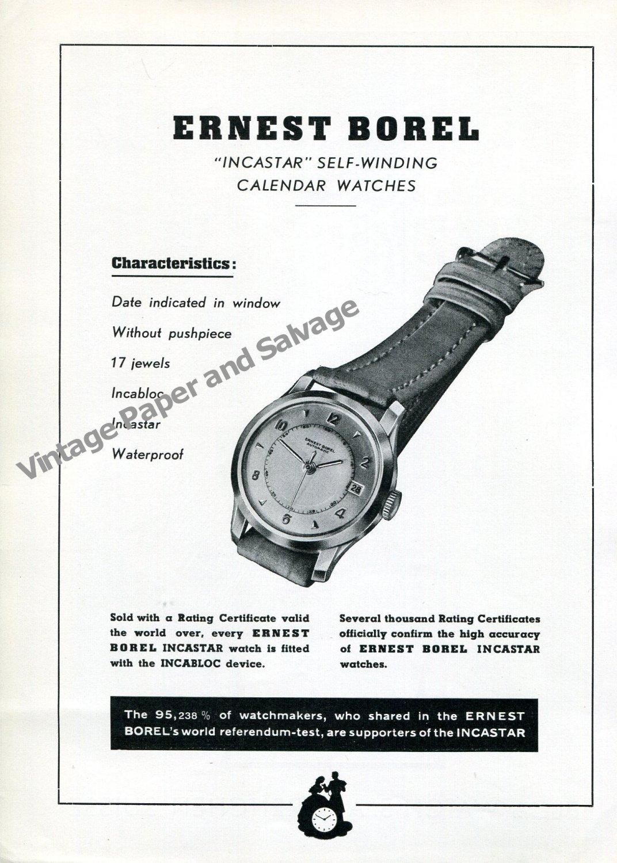 Vintage 1950 Ernest Borel Incastar Self-Winding Calendar Watch Advert Swiss Ad Publicite Suisse