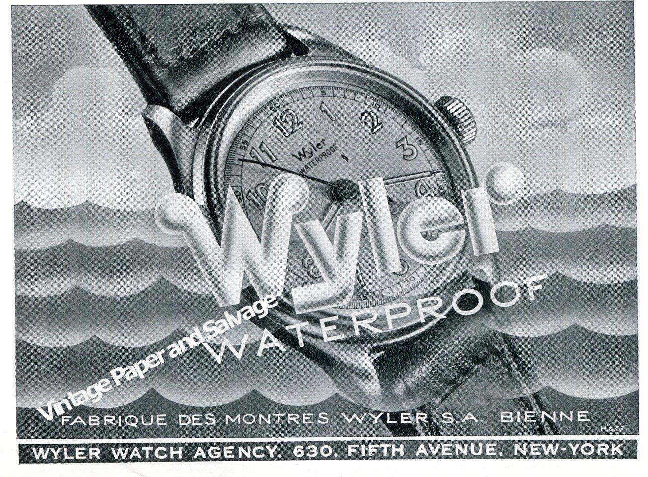 Vintage 1944 Wyler Watch Company Switzerland 1940s Swiss Print Ad Advert Suisse Schweiz