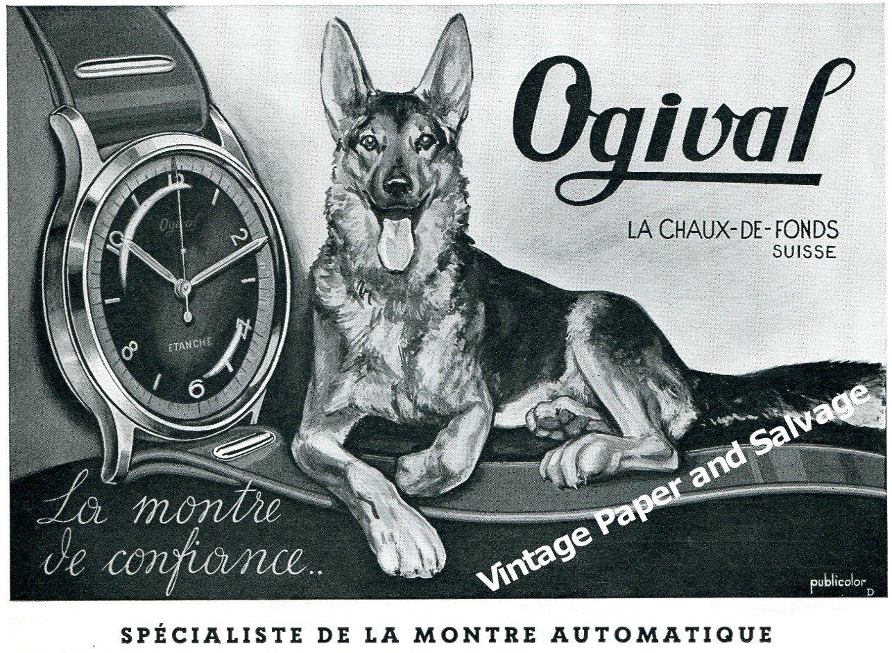 Vintage 1944 Ogival Watch Company Switzerland 1940s Swiss Print Ad Advert Suisse