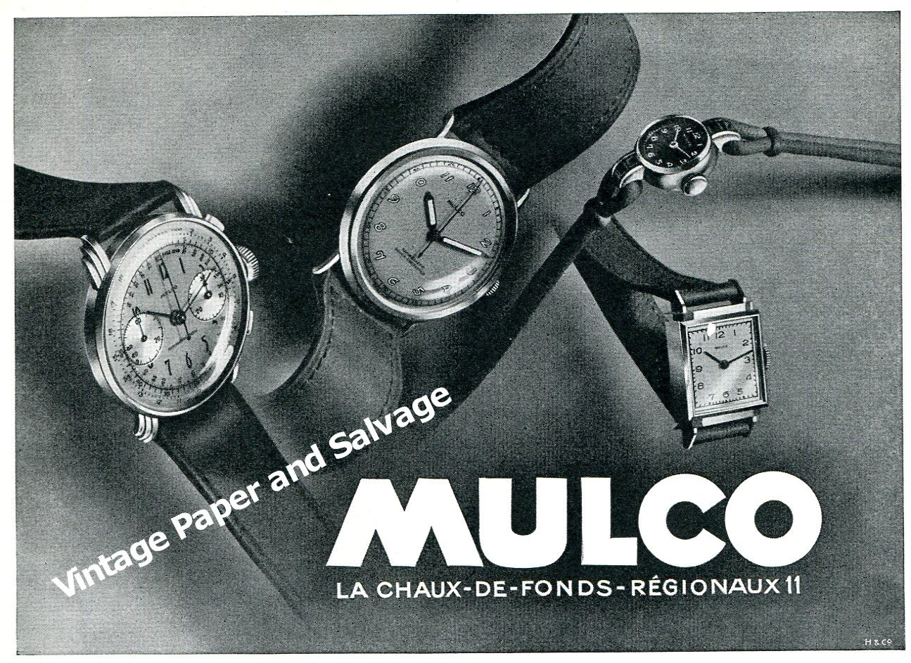 Vintage 1944 Mulco Watch Company Switzerland 1940s Swiss Print Ad Advert Suisse