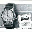 Vintage 1944 Hafis Watch Co F Suter & Cie Switzerland 1940s Swiss Ad Advert Suisse