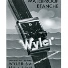 Vintage 1939 Wyler Waterproof Watch Advert 1930s Swiss Ad Publicite Suisse Switzerland