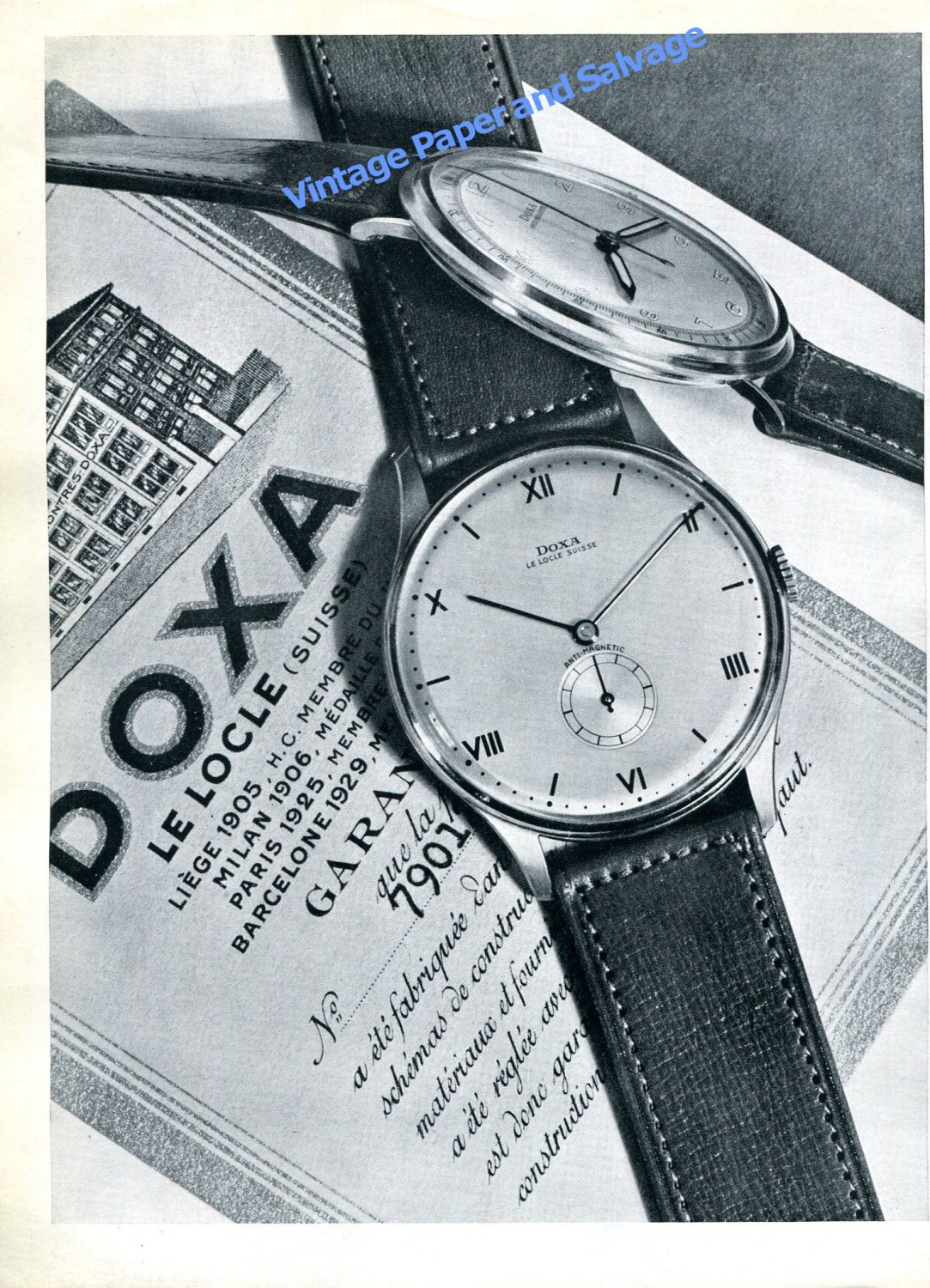 1943 Doxa Watch Company Le Locle Switzerland Vintage 1940s Swiss Ad Advert Suisse