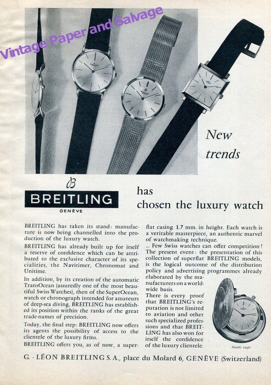 Vintage 1959 Breitling Has Chosen the Luxury Watch Swiss Ad Advert Suisse Switzerland