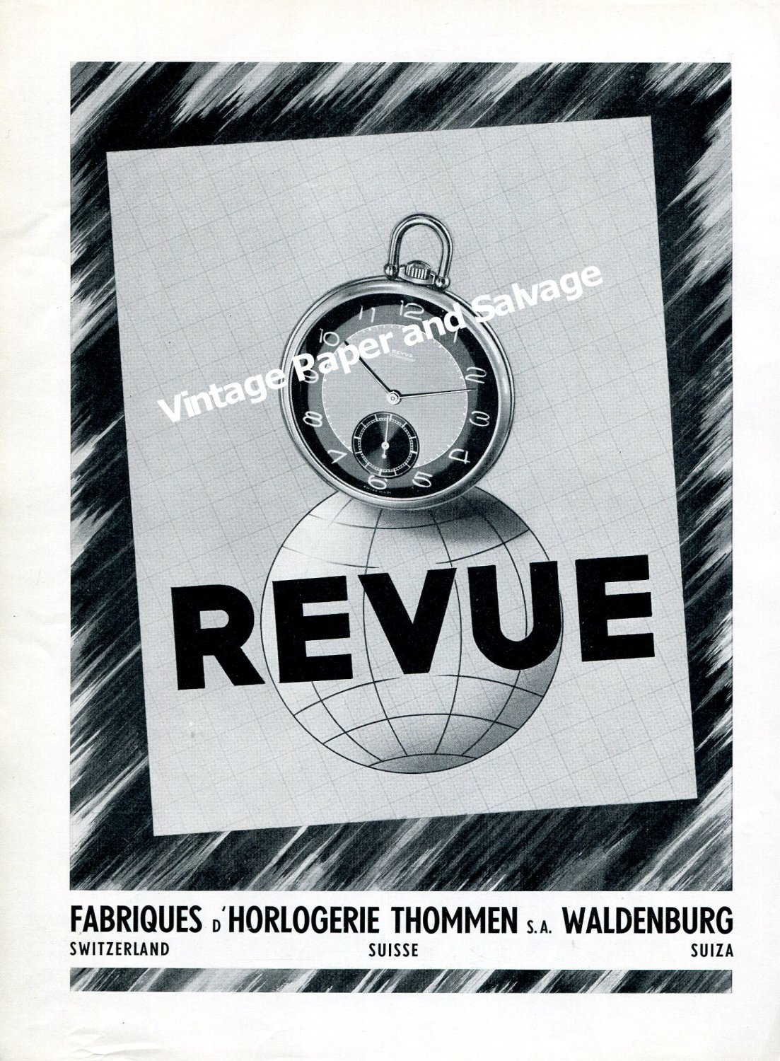 Vintage 1942 Revue Watch Company Thommen SA Switzerland 1940s Swiss Ad Advert Suisse