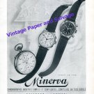 Vintage 1942 Minerva Watch Company Villeret Switzerland Original 1940s Swiss Ad Advert Suisse