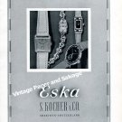 Vintage 1942 Eska Watch Company S Kocher & Co Switzerland Original 1940s Swiss Ad Advert Suisse