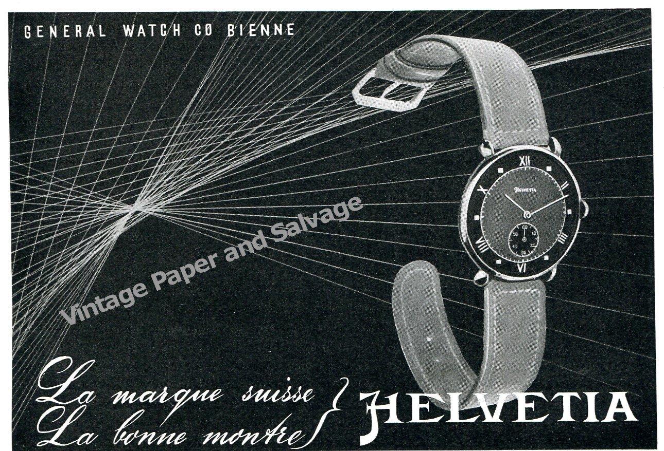 1943 Helvetia General Watch Co Bienne Switzerand 1940s Swiss Ad Advert Suisse