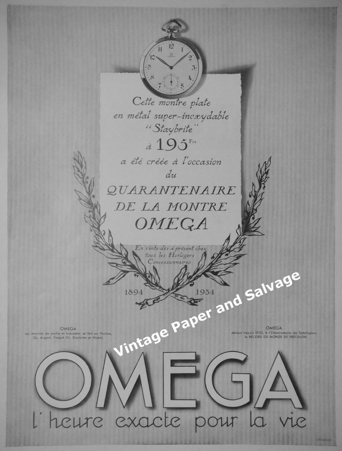 Vintage 1934 Omega Watch Company 40 Year Anniversary 1894-1934 French Ad 1930s
