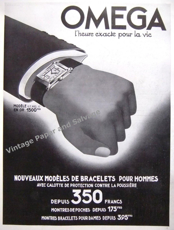 Vintage 1935 Omega Watch Company Switzerland L'Heure Exacte Pour La Vie 1930s French Ad