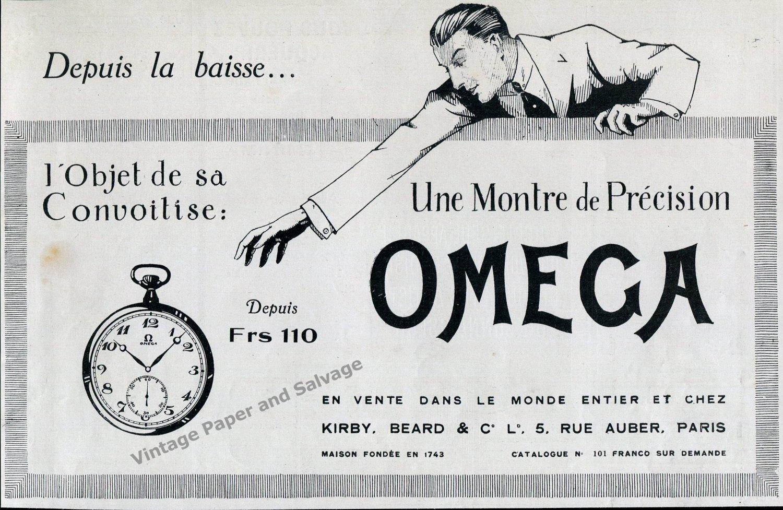 1922 Omega Watch Company Une Montre de Precision Vintage 1920s French Print Ad Advert