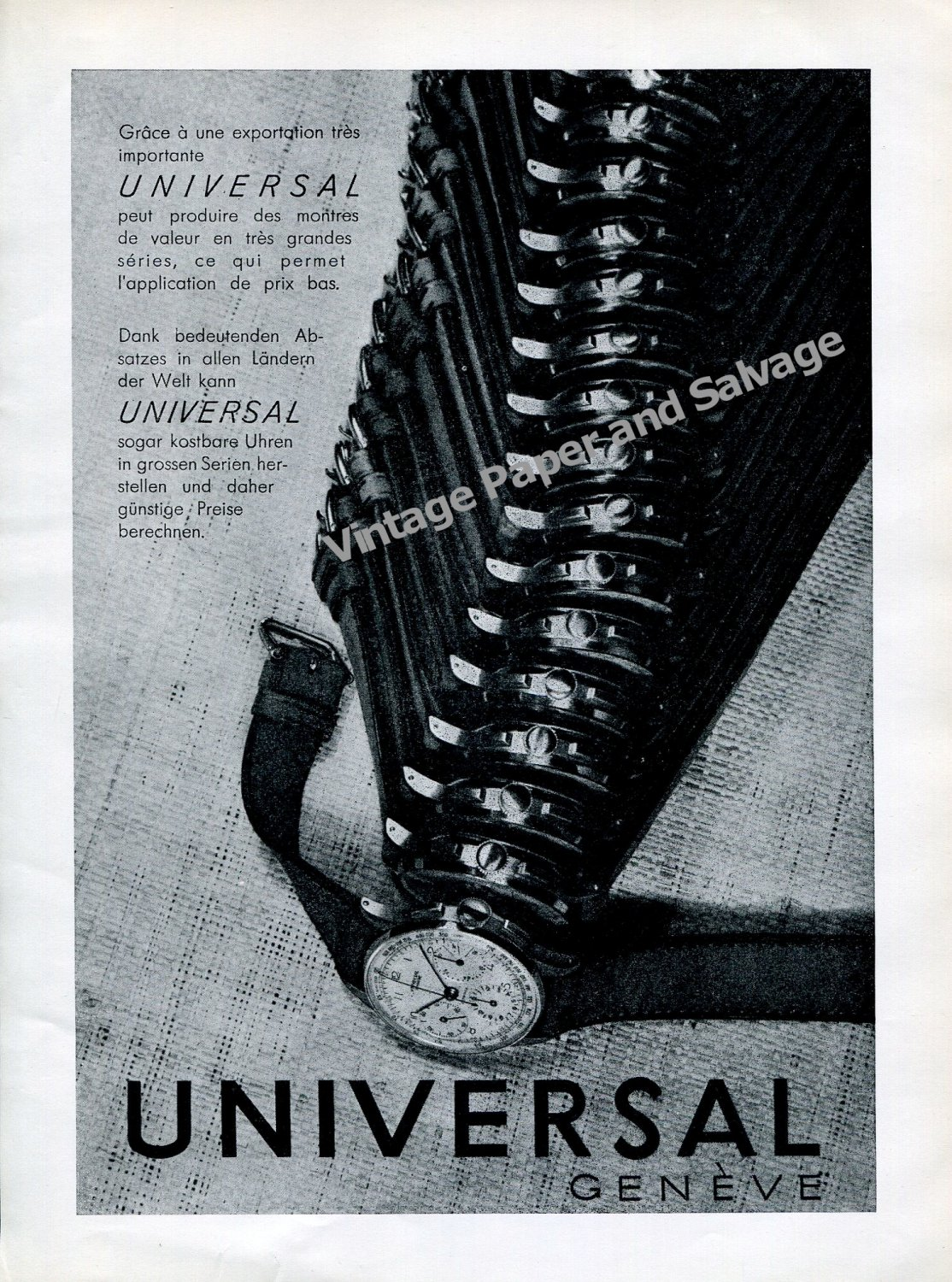 Vintage 1942 Universal Geneve Watch Company Switzerland 1940s Swiss Ad Advert Suisse