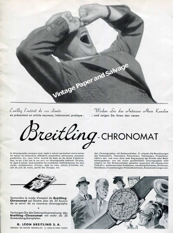 Vintage 1942 Breitling Chronomat Watch Advert Montbrillant G  Leon Breitling SA Swiss Ad Suisse