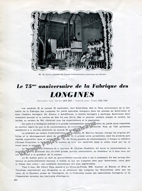 Vintage 1942 Longines 75th Anniversary Switzerland Longines Watch Company Swiss