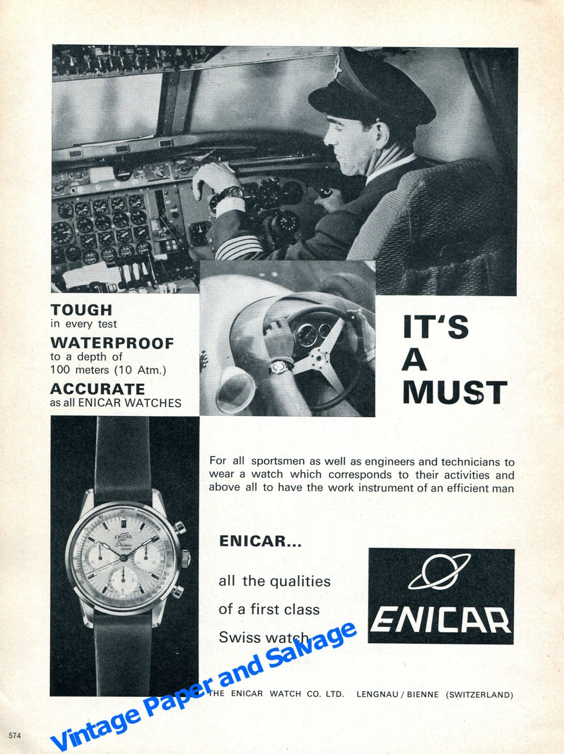 1964 Enicar Watch Advert Tough Waterproof Accurate Swiss Print Ad Publicite Suisse