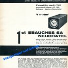 1964 Ebauches SA Neuchatel Switzerland Marine Chronometer Record Swiss Print Ad Publicite Suisse