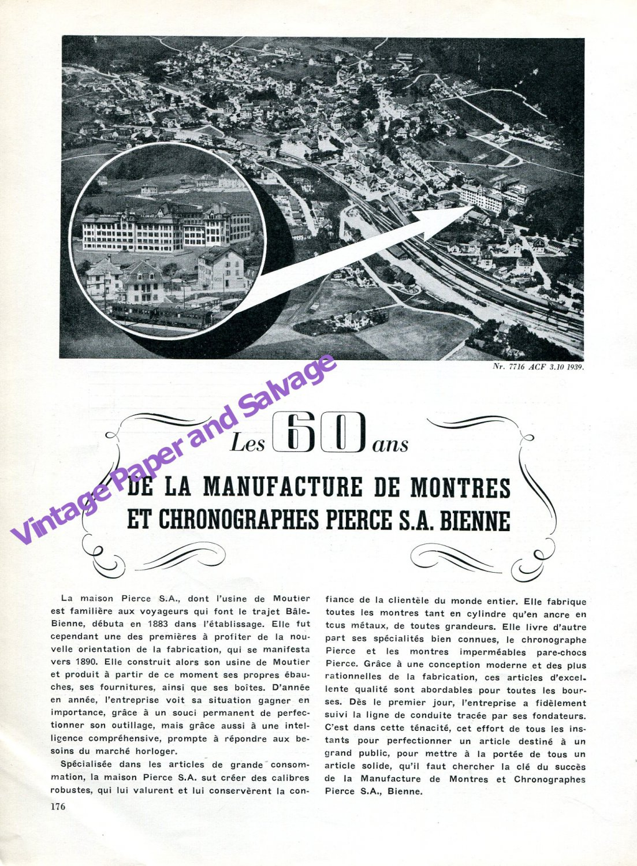 Vintage 1943 Pierce Watch Company 60 Years Anniversary Switzerland Swiss Suisse