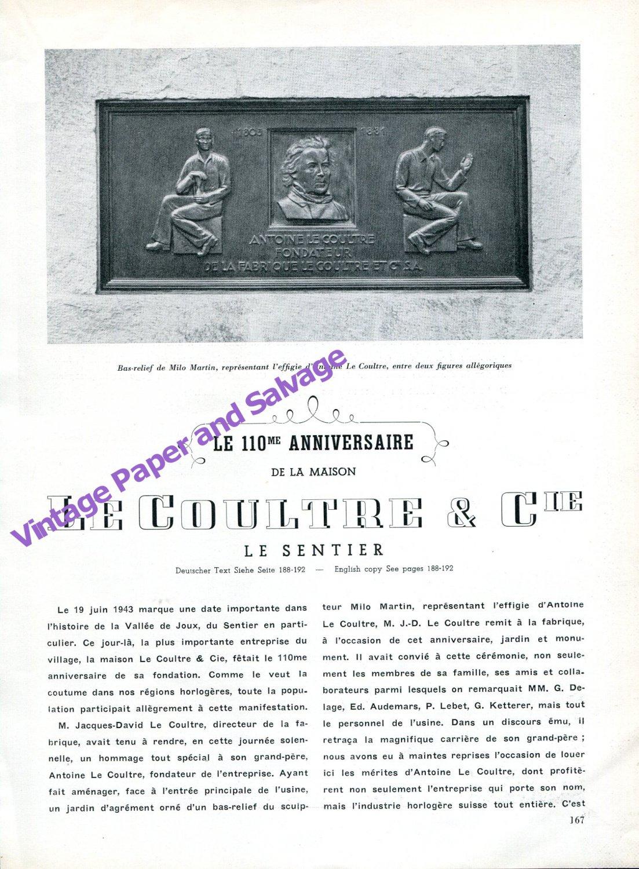 LeCoultre & Cie Vintage 1943 110 Year Anniversary Le Sentier Switzerland Swiss Suisse