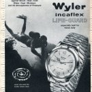 Vintage 1965 Wyler Life-Guard Watch Advert Protection at 20 Atmospheres Swiss Print Ad 1960s