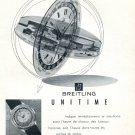 Vintage 1954 Breitling Unitime Watch Advert 1950s Swiss Print Ad Switzerland