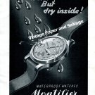 Vintage 1943 Montilier Waterproof Watch Advert 1940s Swiss Print Ad Switzerland Suisse