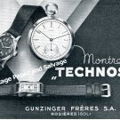 Vintage 1942 Technos Gunzinger Freres SA Watch Company Switzerland 1940s Swiss Print Ad Suisse