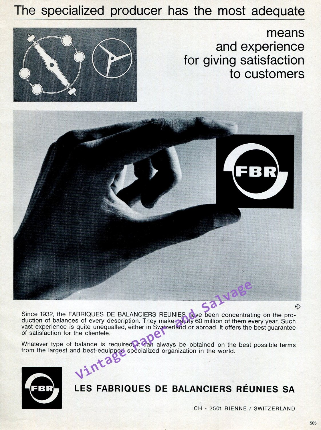 Vintage 1968 FBR Fabriques de Balanciers Reunies SA Watch Balances Swiss Print Ad Advert Horology